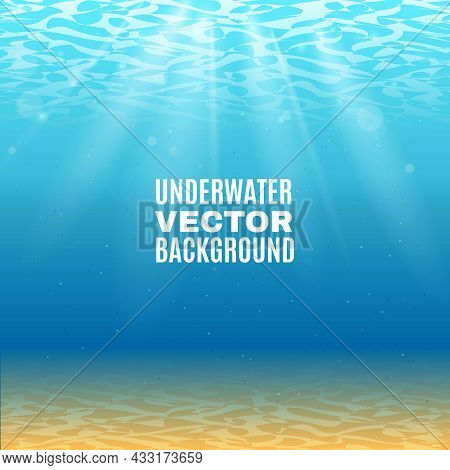 Underwater Background  In Light Blue Tone With Sand Sunrays Falling From The Waves Vector Illustrati