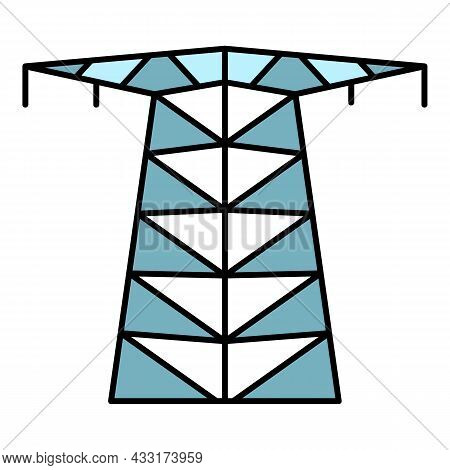 Large Electric Tower Icon. Outline Large Electric Tower Vector Icon Color Flat Isolated On White