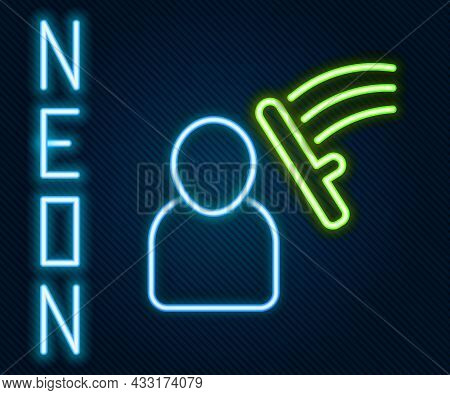 Glowing Neon Line Police Beat Human Icon Isolated On Black Background. Abuse Of Authority. Protests,