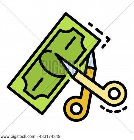 Scissors Cut Money Icon. Outline Scissors Cut Money Vector Icon Color Flat Isolated On White