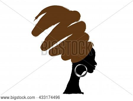 Portrait Beautiful African Woman In Traditional Turban, Hand Drawing Style, Black Women Vector Silho