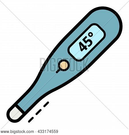 High Temperature Thermometer Icon. Outline High Temperature Thermometer Vector Icon Color Flat Isola