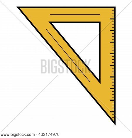Angle Ruler Icon. Outline Angle Ruler Vector Icon Color Flat Isolated On White