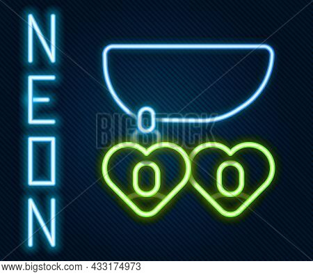 Glowing Neon Line Necklace With Heart Shaped Pendant Icon Isolated On Black Background. Jewellery De