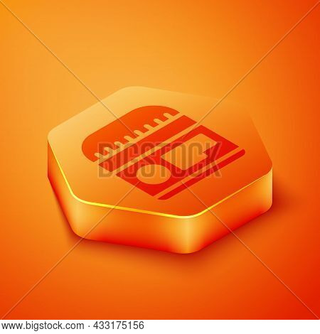 Isometric Cream Or Lotion Cosmetic Tube Icon Isolated On Orange Background. Body Care Products For M