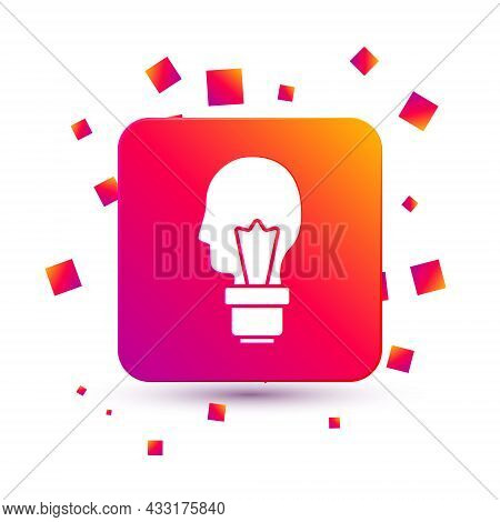 White Light Bulb With Concept Of Idea Icon Isolated On White Background. Energy And Idea Symbol. Ins