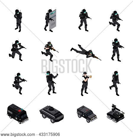 Swat Special Weapons And Tactics Law Enforcement Units Ammunition And Military Equipment Isometric I