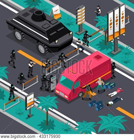 Swat Unit Team Tactics In Action Searching For Gunman Isometric Composition Poster With Blocking Str