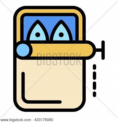 Canned Fish Icon. Outline Illustration Of Canned Fish Vector Icon Color Flat Isolated On White