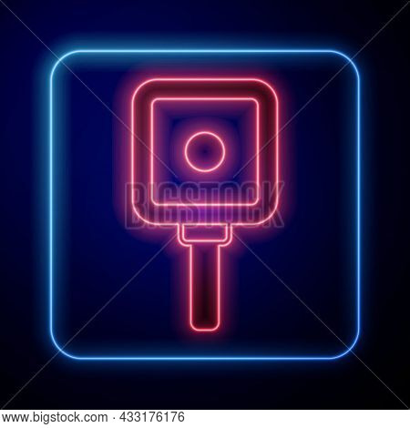 Glowing Neon Frying Pan Icon Isolated On Black Background. Fry Or Roast Food Symbol. Vector