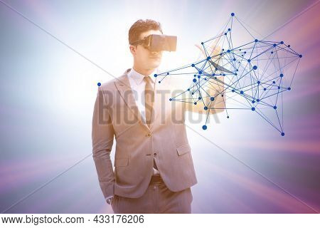 Man in neural network concept with VR glasses