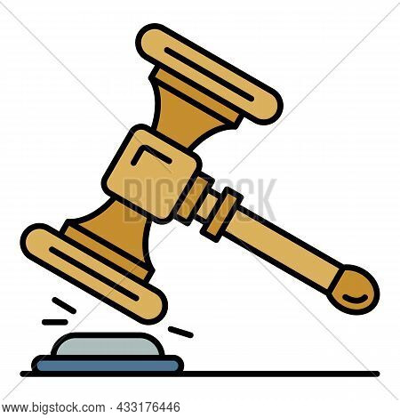 Wood Gavel Icon. Outline Wood Gavel Vector Icon Color Flat Isolated On White