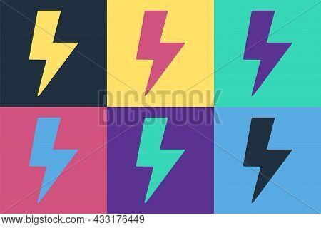 Pop Art Lightning Bolt Icon Isolated On Color Background. Flash Sign. Charge Flash Icon. Thunder Bol
