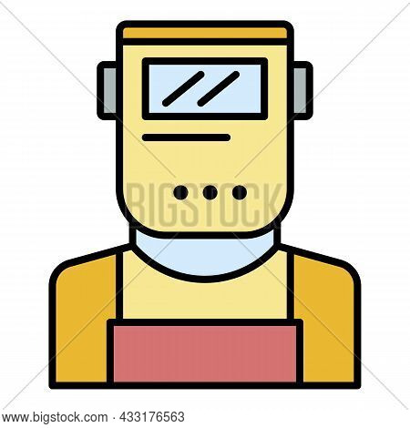 Welder Man Icon. Outline Welder Man Vector Icon Color Flat Isolated On White