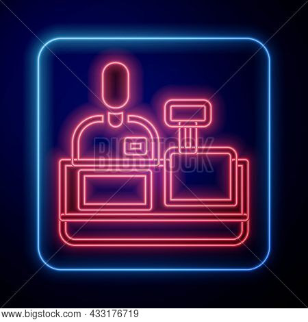 Glowing Neon Cashier At Cash Register Supermarket Icon Isolated On Black Background. Shop Assistant,