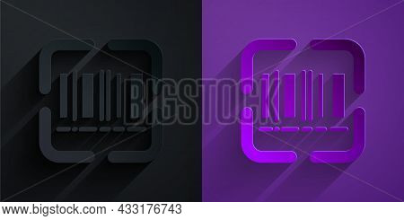 Paper Cut Scanner Scanning Bar Code Icon Isolated On Black On Purple Background. Barcode Label Stick