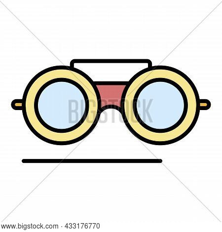 Welder Glasses Icon. Outline Welder Glasses Vector Icon Color Flat Isolated On White