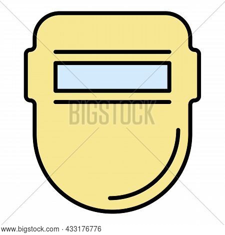 Welder Metal Mask Icon. Outline Welder Metal Mask Vector Icon Color Flat Isolated On White