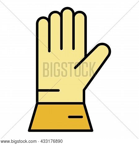Welder Glove Icon. Outline Welder Glove Vector Icon Color Flat Isolated On White