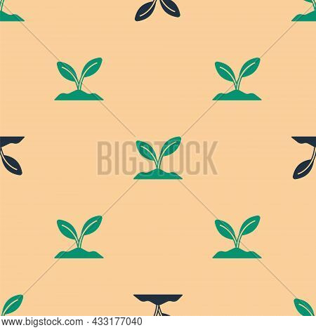 Green And Black Sprout Icon Isolated Seamless Pattern On Beige Background. Seed And Seedling. Leaves