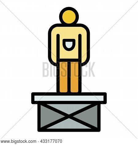 Man On Scissors Platform Icon. Outline Illustration Of Man On Scissors Platform Vector Icon Color Fl