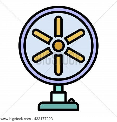 Home Fan Icon. Outline Home Fan Vector Icon Color Flat Isolated On White
