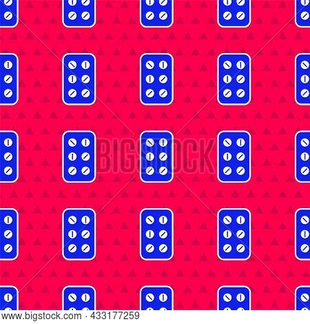 Blue Pills In Blister Pack Icon Isolated Seamless Pattern On Red Background. Medical Drug Package Fo