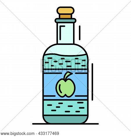 Apple Vinegar Icon. Outline Apple Vinegar Vector Icon Color Flat Isolated On White