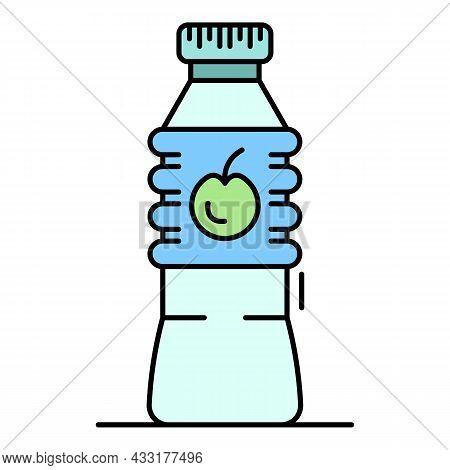 Plastic Bottle Apple Vinegar Icon. Outline Plastic Bottle Apple Vinegar Vector Icon Color Flat Isola