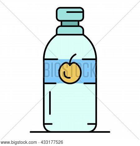Kitchen Apple Vinegar Icon. Outline Kitchen Apple Vinegar Vector Icon Color Flat Isolated On White