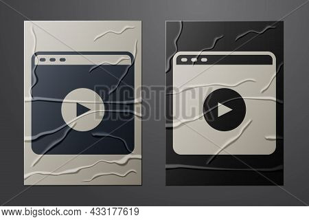 White Online Play Video Icon Isolated On Crumpled Paper Background. Film Strip With Play Sign. Paper