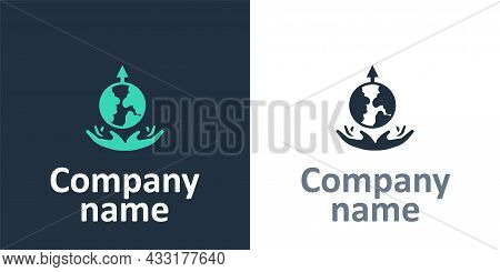 Logotype World Expansion Icon Isolated On White Background. Logo Design Template Element. Vector