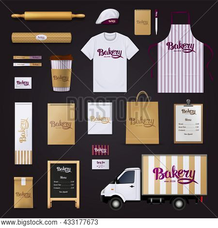 Deliciously Creative Bakery Pastry Shop Visual Corporate Identity Stripes Design Template Basic Item