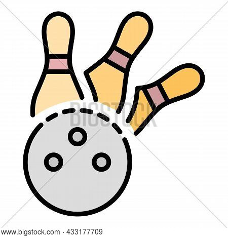 Bowling Strike Icon. Outline Bowling Strike Vector Icon Color Flat Isolated On White