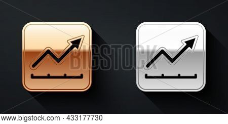 Gold And Silver Financial Growth Increase Icon Isolated On Black Background. Increasing Revenue. Lon