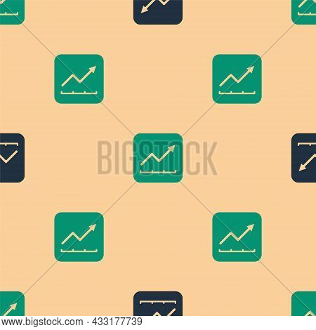Green And Black Financial Growth Increase Icon Isolated Seamless Pattern On Beige Background. Increa