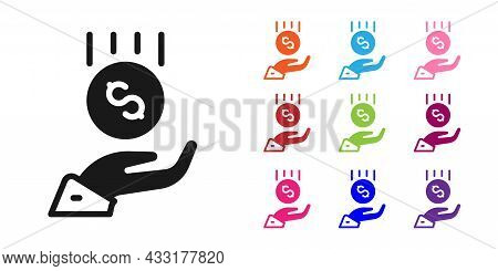 Black Coins On Hand - Minimal Wage Icon Isolated On White Background. Set Icons Colorful. Vector