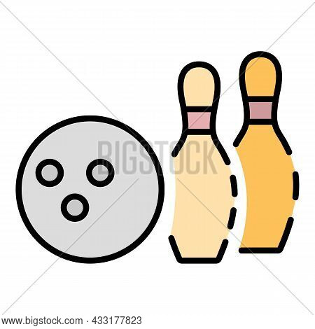 Bowling Club Icon. Outline Bowling Club Vector Icon Color Flat Isolated On White