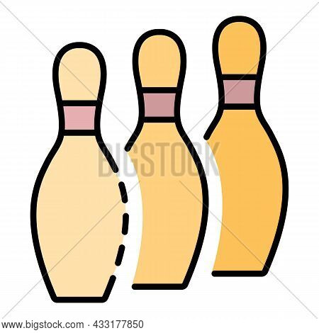 Bowling Pins Stand Icon. Outline Bowling Pins Stand Vector Icon Color Flat Isolated On White
