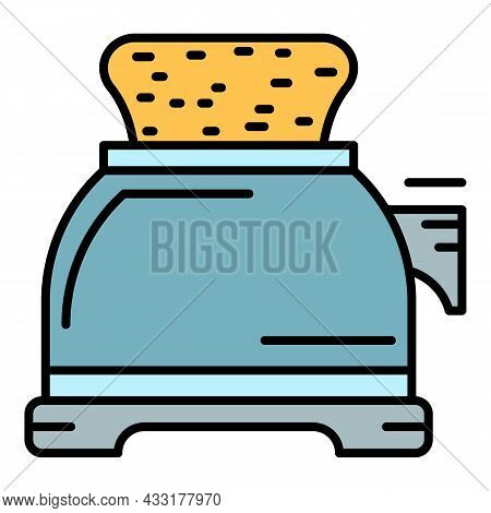 Toaster Icon. Outline Toaster Vector Icon Color Flat Isolated On White