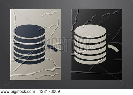 White Plastic Filament For 3d Printing Icon Isolated On Crumpled Paper Background. Paper Art Style.
