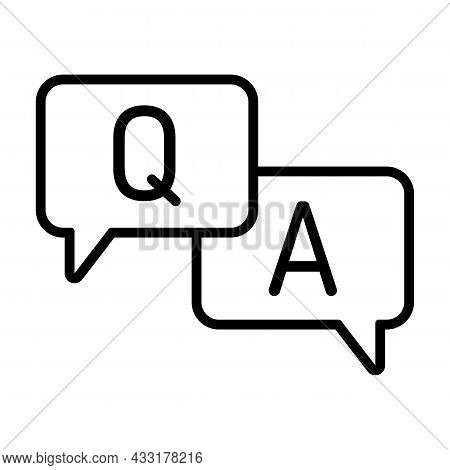 Q And A Letters. Questions And Answers Icon With Speech Bubble. Minimal Thin Line Vector Illustratio