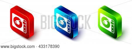 Isometric Vinyl Player With A Vinyl Disk Icon Isolated On White Background. Red, Blue And Green Squa