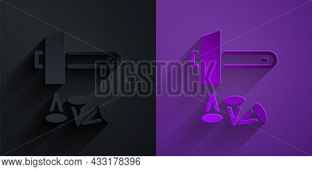 Paper Cut Crucifixion Of Jesus Christ Icon Isolated On Black On Purple Background. Hammer And Old Na