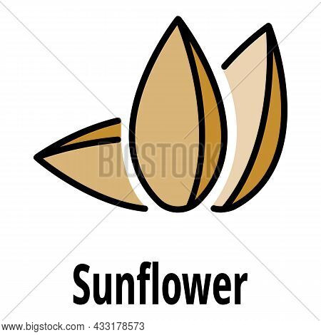 Sunflower Seed Icon. Outline Sunflower Seed Vector Icon Color Flat Isolated On White
