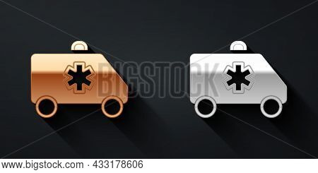 Gold And Silver Ambulance And Emergency Car Icon Isolated On Black Background. Ambulance Vehicle Med