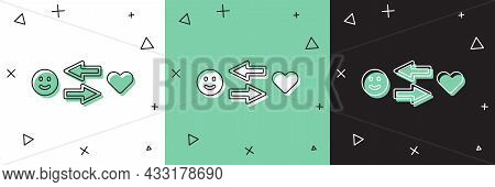 Set Romantic Relationship Icon Isolated On White And Green, Black Background. Romantic Relationship