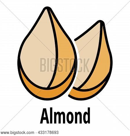 Almond Icon. Outline Almond Vector Icon Color Flat Isolated On White