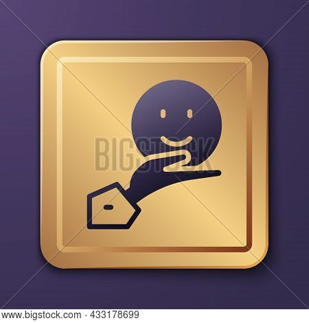 Purple Happy Friendship Day Icon Isolated On Purple Background. Everlasting Friendship Concept. Gold