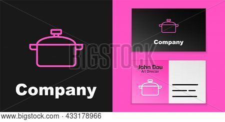 Pink Line Cooking Pot Icon Isolated On Black Background. Boil Or Stew Food Symbol. Logo Design Templ